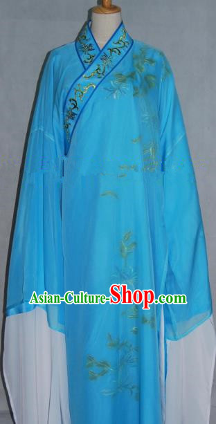 China Beijing Opera Lang Scholar Blue Embroidered Chrysanthemum Robe Chinese Traditional Peking Opera Niche Costume for Adults