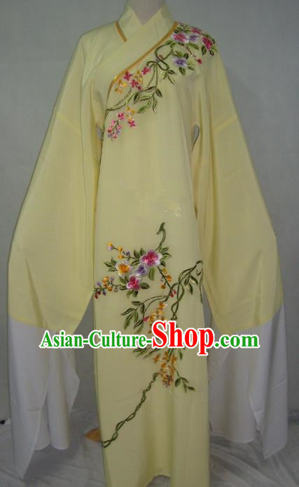 China Beijing Opera Lang Scholar Niche Costume Light Yellow Embroidered Robe for Adults