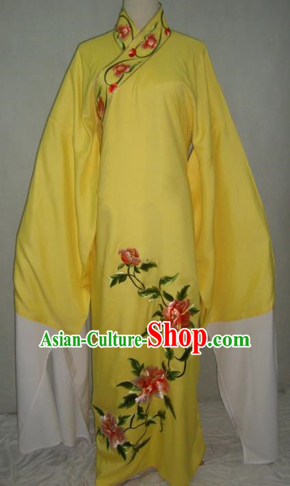 China Beijing Opera Lang Scholar Niche Costume Yellow Embroidered Peony Robe for Adults