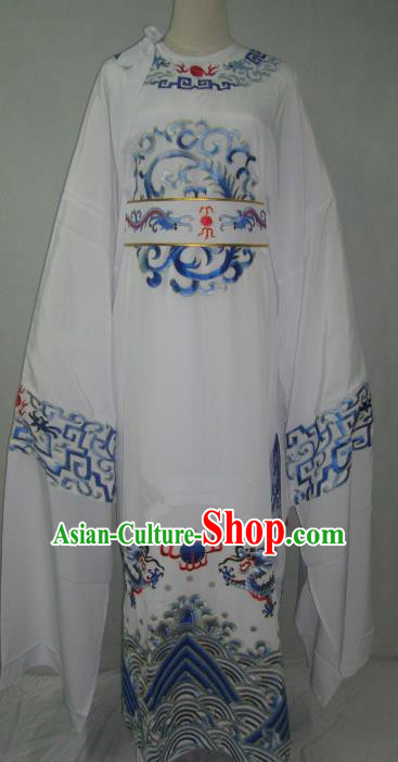 Traditional Chinese Beijing Opera Niche Costume Beijing Opera Embroidered White Robe for Adults