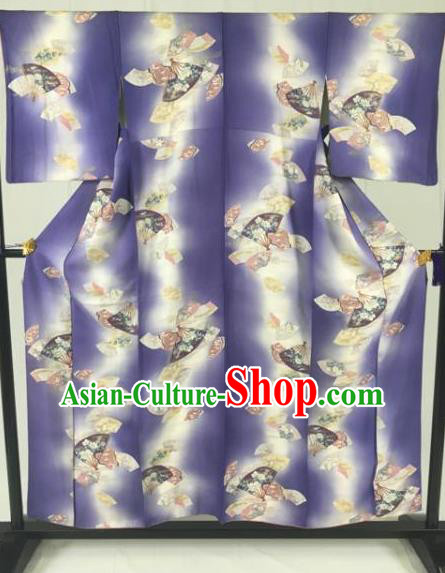 Japan Traditional Geisha Purple Kimono Formal Costume Furisode Kimonos Ancient Yukata Dress for Women