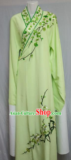 Traditional Chinese Beijing Opera Niche Costume Embroidered Plum Blossom Light Green Robe for Adults