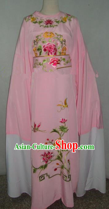 Traditional Chinese Shaoxing Opera Niche Scholar Embroidery Costume Beijing Opera Pink Robe for Adults