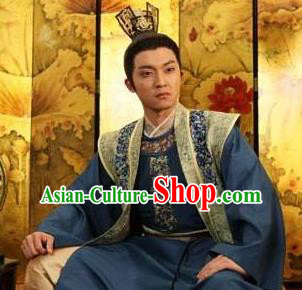 Traditional Chinese Tang Dynasty Nobility Childe Wu Chongxun Replica Costume for Men
