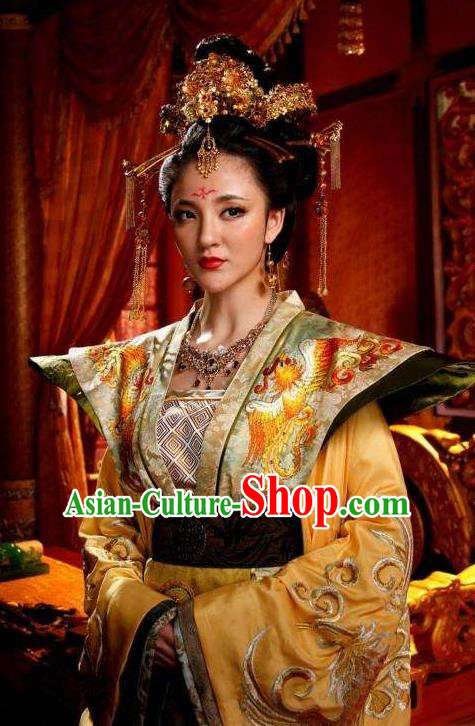 Chinese Ancient Tang Dynasty Imperial Consort Embroidered Dress Empress Replica Costume for Women