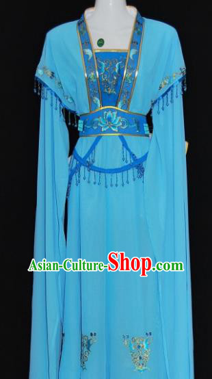 Traditional China Beijing Opera Actress Blue Dress Chinese Peking Opera Diva Costume