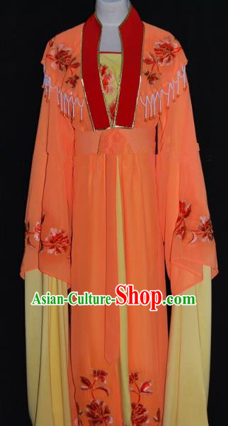 Traditional China Beijing Opera Diva Orange Dress Chinese Peking Opera Embroidered Costume