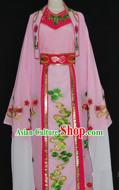 Traditional Chinese Beijing Opera Niche Costume Scholar Embroidery Pink Robe for Adults