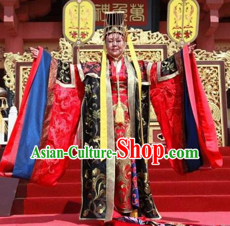 Ancient Chinese Tang Dynasty Empress Wu Zetian Hanfu Dress Female Emperor Replica Costume for Women