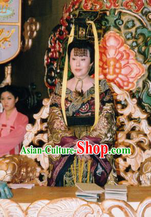 Chinese Tang Dynasty Queen Regnant Embroidered Hanfu Dress Ancient Empress Wu Zetian Replica Costume for Women