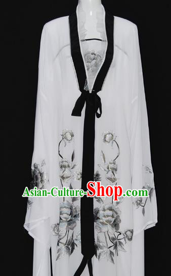 Traditional Chinese Beijing Opera Diva White Dress Peking Opera Nobility Lady Embroidered Costume