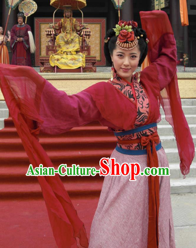 Chinese Tang Dynasty Geisha Embroidered Hanfu Dress Ancient Courtesan Zhao Hongchen Replica Costume for Women