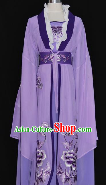 Traditional Chinese Beijing Opera Diva Purple Dress Peking Opera Princess Embroidered Costume