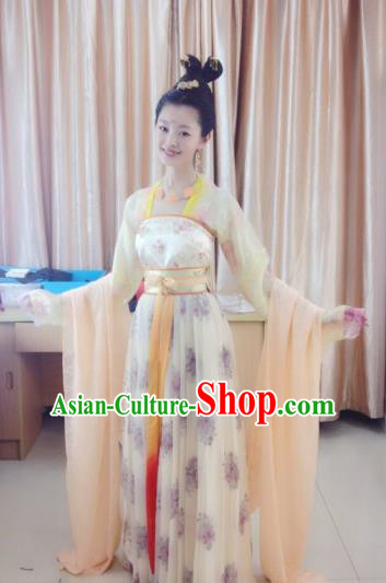 Chinese Ancient Tang Dynasty Princess Embroidered Dress Fairy Replica Costume for Women