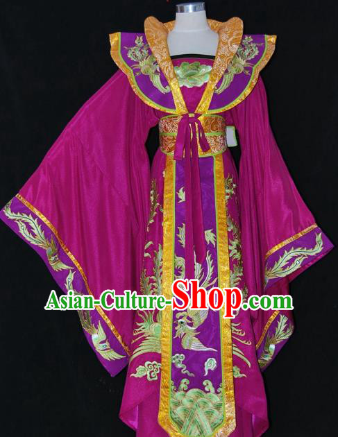 Traditional Chinese Beijing Opera Imperial Empress Purple Dress Peking Opera Diva Embroidered Costume