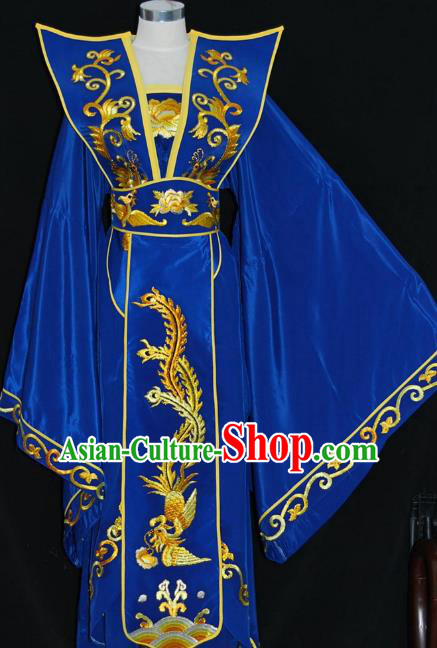 Traditional Chinese Beijing Opera Queen Royalblue Dress Peking Opera Diva Embroidered Costume