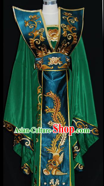 Traditional Chinese Beijing Opera Queen Green Dress Peking Opera Diva Embroidered Costume