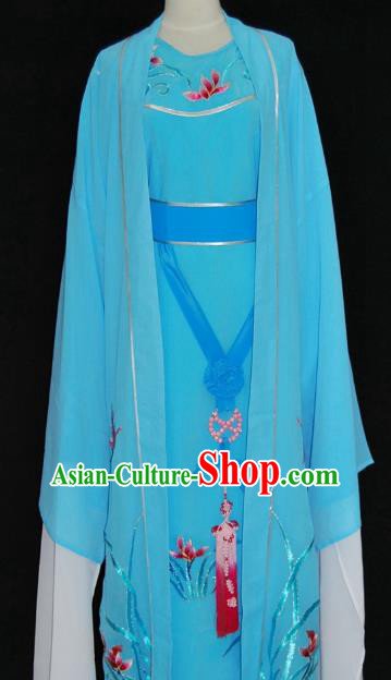 Traditional Chinese Beijing Opera Blue Costume Peking Opera Niche Clothing for Adults