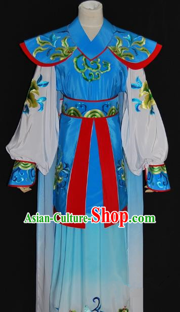 Traditional Chinese Beijing Opera Female Warrior Blue Dress Peking Opera Blues Embroidered Costume