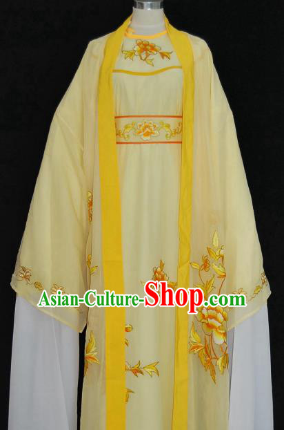Traditional Chinese Beijing Opera Scholar Yellow Robe Costume Peking Opera Niche Clothing for Adults