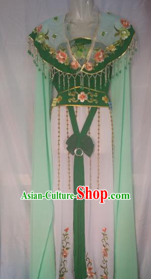 Traditional Chinese Beijing Opera Young Lady Costume Peking Opera Diva Green Dress