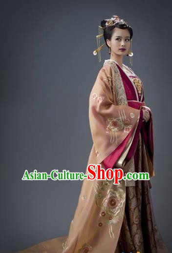 Chinese Tang Dynasty Imperial Consort Xu of Li Zhi Embroidered Hanfu Dress Ancient Replica Costume for Women