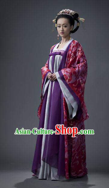Traditional Chinese Tang Dynasty Imperial Consort Li Embroidered Hanfu Dress Replica Costume for Women