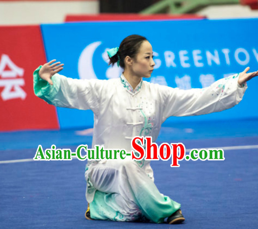 Top Female Gong Fu Uniform Kung Fu Suit Kung Fu Uniform Chinese Jacket Taiji Clothes Dress Dresses Kung Fu Clothing Embroidered Tai Chi Suits Custom Kung Fu Embroidery Uniforms