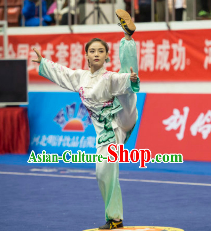 Top Female Gong Fu Uniforms Kung Fu Suit Kung Fu Uniform Chinese Jacket Taiji Clothes Dress Dresses Kung Fu Clothing Embroidered Tai Chi Suits Custom Kung Fu Embroidery Uniforms