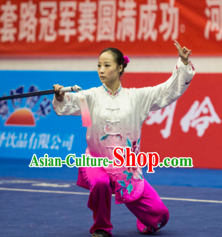 Color Changing Top Female Taiji Quan Uniforms Kung Fu Suit Kung Fu Uniform Chinese Jacket Taiji Clothes Dress Dresses Kung Fu Clothing Embroidered Tai Chi Suits Custom Kung Fu Embroidery Uniforms