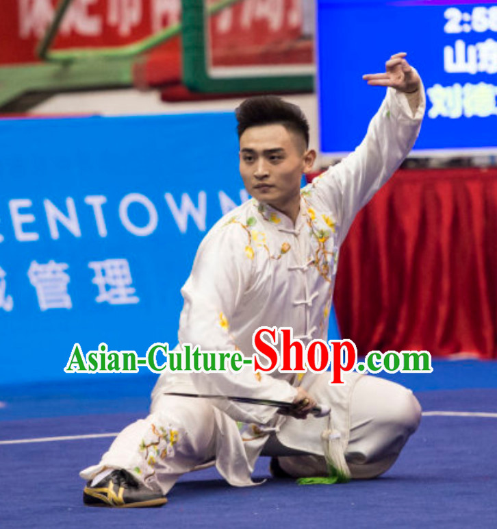 Supreme Custom Made Competition Men Taiji Quan Uniforms Kung Fu Suit Kung Fu Uniform Chinese Jacket Taiji Clothes Dress Dresses Kung Fu Clothing Embroidered Tai Chi Suits Custom Kung Fu Embroidery Uniforms