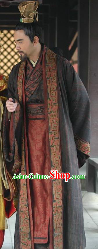 Chinese Ancient Tang Dynasty Xuanzong Emperor Li Longji Embroidered Replica Costume for Men