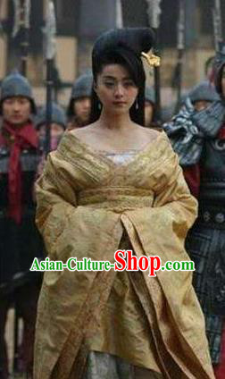 Ancient Chinese Tang Dynasty Consort Yang Yuhuan Embroidered Dress Replica Costume for Women