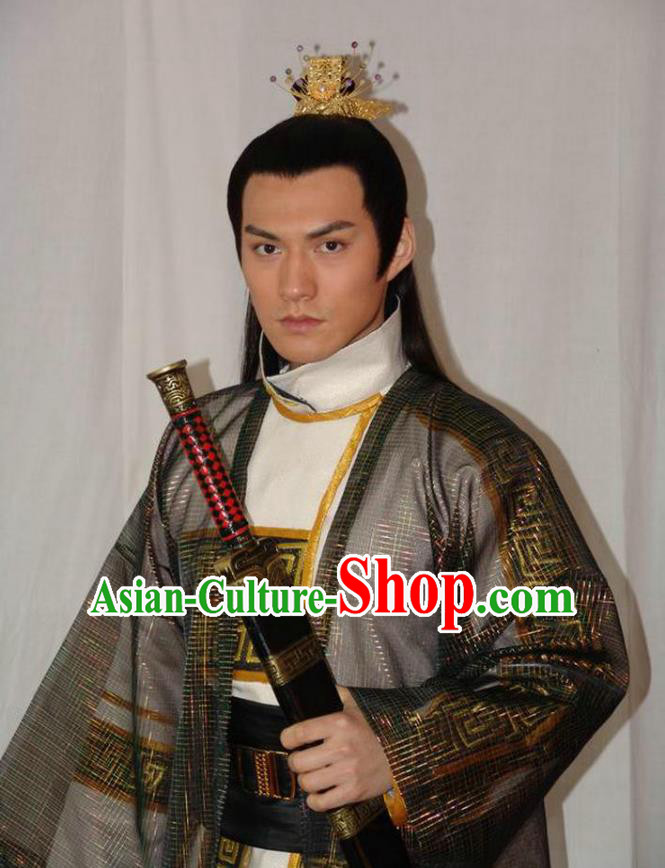 Chinese Ancient Tang Dynasty Crown Prince Jian-Cheng Li Embroidered Replica Costume for Men