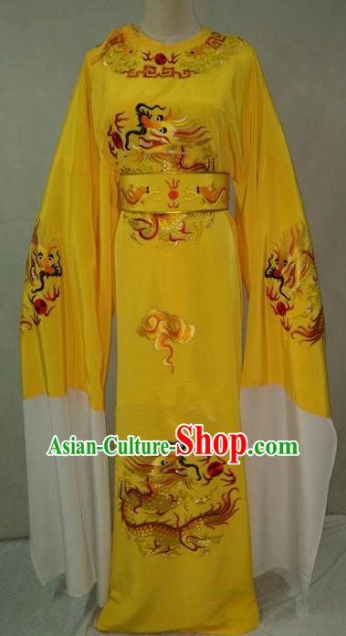 Traditional Chinese Beijing Opera Young Men Water Sleeve Yellow Robe Peking Opera Niche Costume for Adults