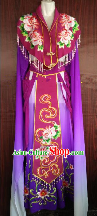 Traditional Chinese Beijing Opera Diva Embroidered Costume Professional Peking Opera Purple Dress