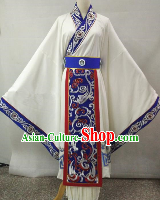 Traditional Chinese Beijing Opera Empress Costume Professional Peking Opera Diva Embroidered White Dress
