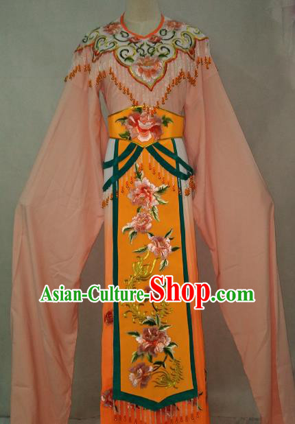 Traditional Chinese Beijing Opera Princess Orange Dress Professional Peking Opera Diva Embroidered Clothing