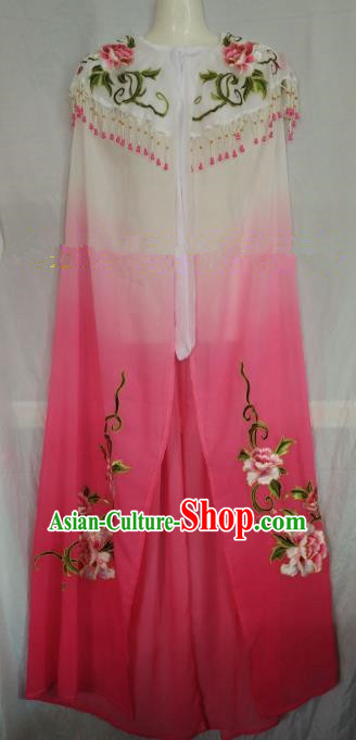 Traditional Chinese Beijing Opera Rosy Embroidered Cloak Professional Peking Opera Diva Clothing