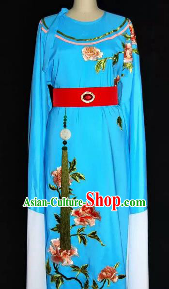 Top Grade Chinese Beijing Opera Embroidered Blue Robe Peking Opera Niche Costume for Adults