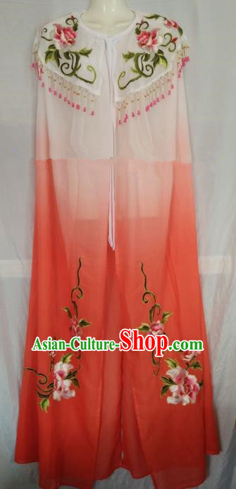 Traditional Chinese Beijing Opera Orange Embroidered Cloak Professional Peking Opera Diva Clothing