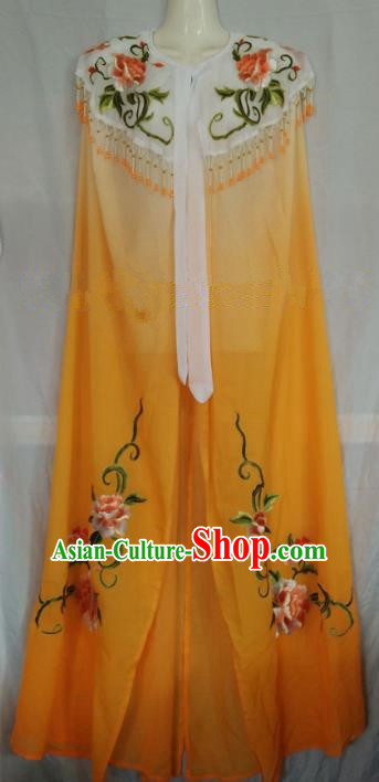 Traditional Chinese Beijing Opera Yellow Embroidered Cloak Professional Peking Opera Diva Clothing