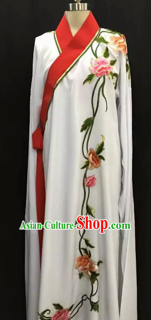 Top Grade Chinese Beijing Opera Embroidered Peony White Robe Peking Opera Niche Costume for Adults