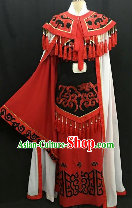 Top Grade Chinese Beijing Opera Young Men Red Costume Peking Opera Niche Costume for Adults