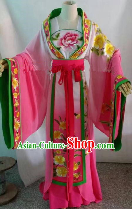 Traditional Chinese Beijing Opera Palace Lady Embroidered Pink Dress Professional Peking Opera Diva Clothing