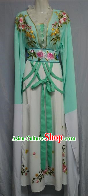 Traditional Chinese Beijing Opera Nobility Lady Costume Professional Peking Opera Diva Green Dress