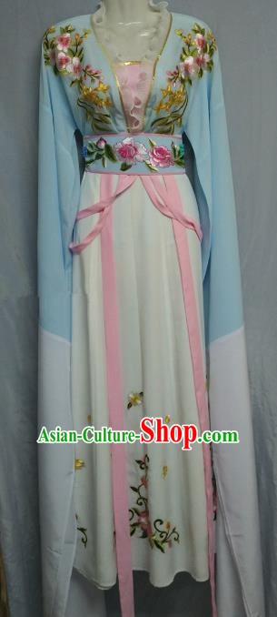 Traditional Chinese Beijing Opera Nobility Lady Costume Professional Peking Opera Diva Blue Dress