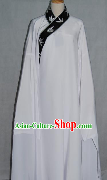 Top Grade Chinese Beijing Opera Young Men Costume Peking Opera Niche Embroidery Bamboo Leaf White Robe for Adults
