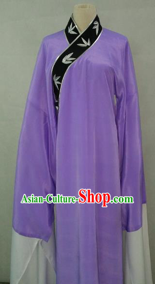 Top Grade Chinese Beijing Opera Young Men Costume Peking Opera Niche Embroidery Bamboo Leaf Purple Robe for Adults