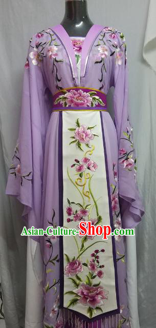Top Grade Chinese Beijing Opera Actress Princess Embroidered Purple Dress China Peking Opera Diva Costume